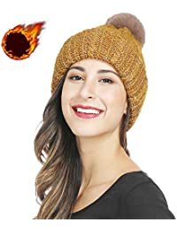 Winter Kint Hat for Women with Removable Pompom Thick Warm Men Beanies Caps cf17f1e3676