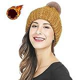 Jeckyxun Bonnet tricoté Femme Dame Hommes Hiver Ski Chapeau Chaud avec à Pompon Amovible, Marin/Gris /Rouge/Jaune /Bleu/Rose /Abricot/Kaki (Jaune)