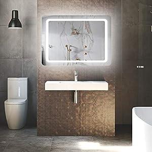 LUVODI LED Badspiegel mit Beleuchtung Wandspiegel Touchschalter Dimmbar Anti-beschlag Badezimmerspiegel Kosmetikspiegel IP44 energiesparend (60 x 80cm)