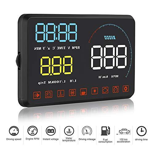 AnJingd Auto HUD Head-up Display GPS Auto für alle Autos und LKWs, Windschild-LED-Projektor, HUD-Reflexionsfilm, Geographisches Positionierungs System Tachomet