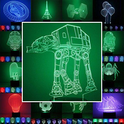 3D Lampe 3D Leuchte 3D LED Stimmungslicht. 7 Farben - 81 verschiedene Motive, hier AT-AT ca.20x17cm inkl.Sockel - 3D Illusion Dekolicht mit USB Anschluß und 220V USB Netzteil