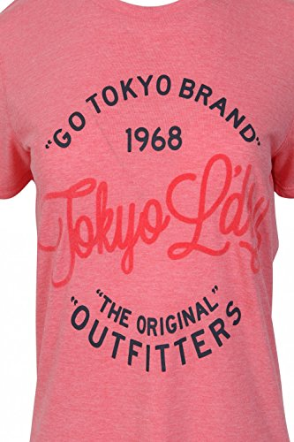 Damen Tokyo Laundry Suri Beflockt Aufdruck Motiv Kurzärmelig T-shirt Korallenrosa Mergel