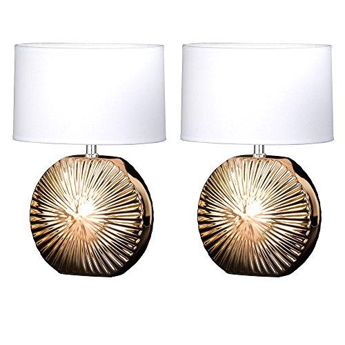 2er Set Keramik Tisch Lampen Wohn Schlaf Zimmer Lese Beleuchtung Textil Nacht Licht weiß gold (Keramik-keramik-tisch-lampe)