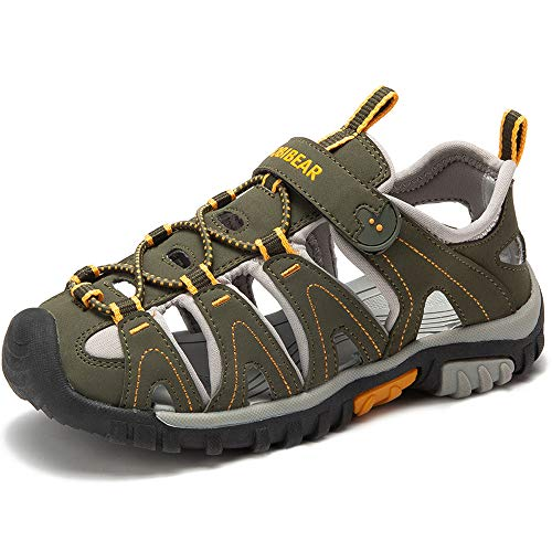 Jungen Sandalen, Kinder Jungen Mädchen Sandalette Schuhe Outdoor Sport Sandalen Klettverschluss Sommer Schuhe,B-Grün,31 EU (Jungen Sport Sandalen)