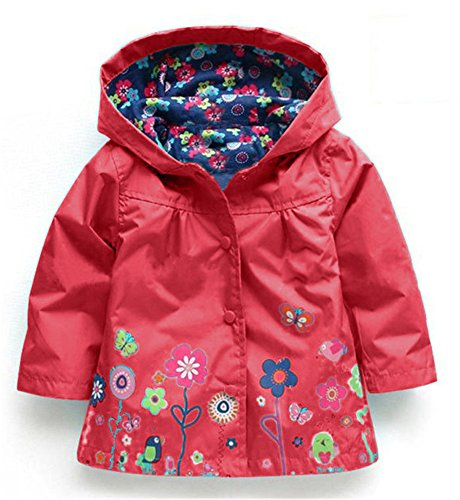 CADong Little Girls' Waterproof Hooded Coat Jacket Outwear Raincoat