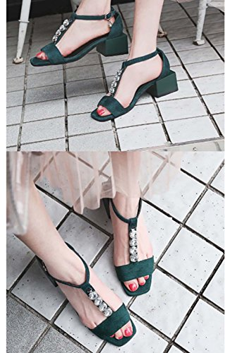 NobS Ankle Strap Mules fibbia quadrata Tacco Mary Jane Donne Sandali Large Size 32-43 Scarpe Suede Retro estive Green
