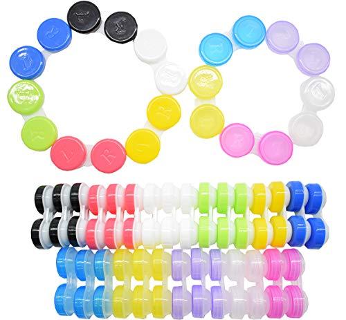 Liuer 40pcs Einfacher Kontaktlinsenbehälter Aufbewahrungsbehälter Contact Lens Cases Kits, Tragbare Antibakteriell Reisen Verwendet Kontaktlinsen Kit für Zuhause und Reisen (verschiedene Farben)