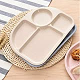 Harlls Weizen-Stroh-Faser-Teller-geteilter Speiseschüssel-Snack-Behälter-Frühstücks-Geschirr für Kinder-Küchen-Geschirr - Beige
