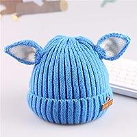 ETMAAA Orejas de Perro Sombrero de Punto para niños Sombrero elástico Sombrero de Lana de bebé de Invierno Sombrero de niño cálido, C