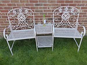 UK-Gardens Cream 2 Seater Loveseat Metal Garden Bench - 2 Chairs With Table Love Seat Bench
