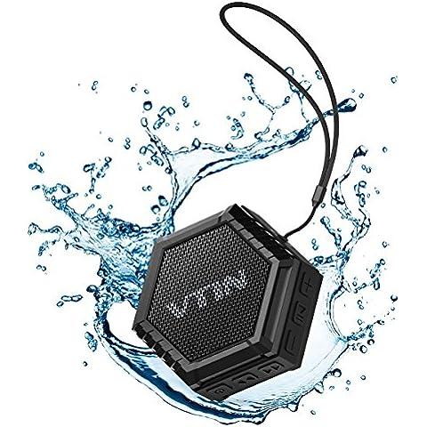 Altoparlante Bluetooth 5W Driver Esterno Portatile IPX4 Impermeabile, VTIN Speaker Stereo con Basso Waterproof Dustproof Crashproof, per iPhone 7/6S/6S Plus/6/5S/SE/5, Galaxy S7/S6/S6 Edge/S5/S4, iPad, Tablet, Huawei, Lumia, LG, Sony, Vodafone, HTC, Motorola, Smartphone ecc, Nero
