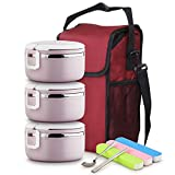JIAYIBAO Bento Box Edelstahl Isolierte Tragbare Student Lunch Box 3 Farben (Farbe : Helles Lila)