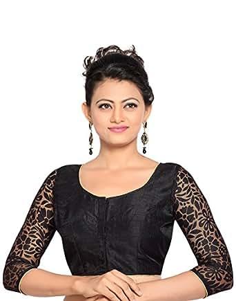 Studio Shringaar Polyester Saree Blouse(SIIRDL1787BK_38_Black_Small)