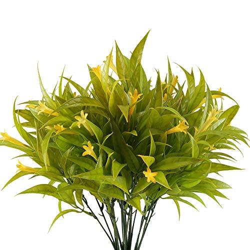 Nahuaa 4 pz fiori artificiali giallo gloria mattutina composizioni piante plastica bouquet fiori finti decorazioni per cimitero esterni interni vaso casa nozze festa veranda cesto appeso giardino