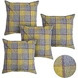 Deconovo Súper Suave Faux Lino Grid Pattern Funda Cuadrada de Cojín Decorativa 45X45 cm Amarillo y Púrpura 4 Piezas