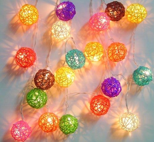 Guirlande Balles lumineuses en rotin Couleurs mixtes Guirlande 20 lanternes