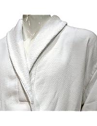 5* Hotel Edición Blanco Waffle/Terry Albornoz de hombre, algodón, Blanco, XXL