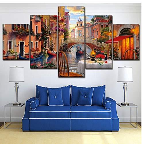 Stampe Su Tela Pittura Camera Da Letto Wall Art 5 Pezzi Venice Restaurant Pictures Modular Abstract Italy Water City Poster Home Decor 30X40 30X60 30X80Cm