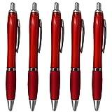 Cosanter Kugelschreiber 5er Set Rot Großraum Mine Ergonomischer Dicker Griff Neu Neutral Kulli ohne Gravur Druck Logo mit Kürbisflasche Form