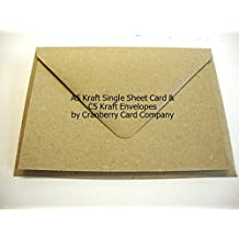 Cranberry Card Company - sobres y postales en blanco, tamaño A5, material papel kraft, Kraft Natural Brown, A5 148mmx210mm C5 162x229mm