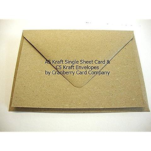 A5Papel Kraft postal & Sobres de Cranberry Card Company, Kraft Natural Brown, A5 148mmx210mm C5