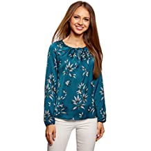 oodji Collection Mujer Blusa Ancha con Escote Gota