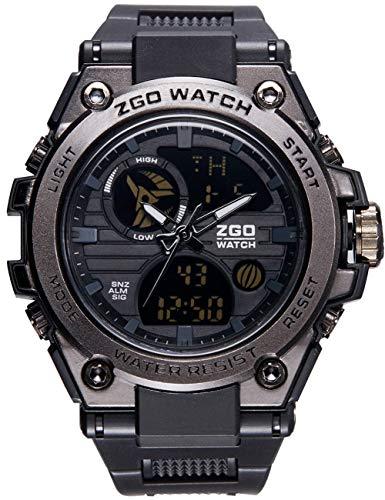 Orologi da uomo nero orologio sportivo multifunzione uomo cronografo militare allarme giorno calendario led cool casual resistente agli urti orologi digitali analogici per uomo adolescenti ragazzi