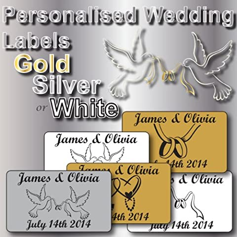 130 Personalised Wedding Seals, Wedding Labels / Stickers 38mm x 21mm 5 Designs 3 Colours 8 Fonts To Choose From See Photo No 2 For Details …. Printed With Names &