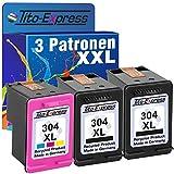PlatinumSerie® Set 3x Druckerpatrone remanufactured für HP 304 XL Black & Color mit Füllstandsanzeige und 222% mehr Inhalt! Für HP DeskJet 3720 3730 3732 Ink Advantage 3700 MFP