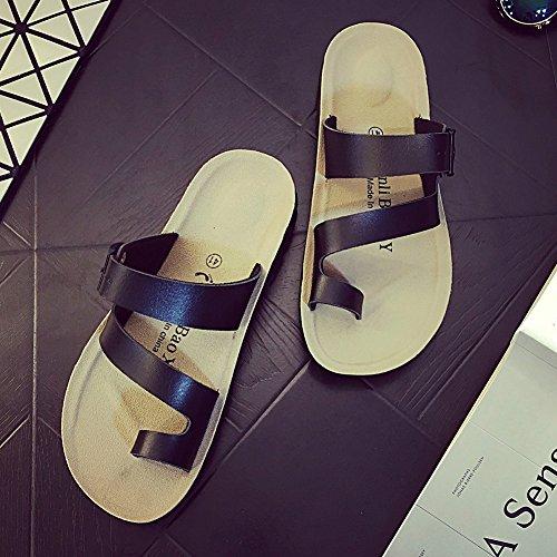 Tongs Chaussures Unisexe Adulte - Sandales Plates Pour Femme - Flip-Flop Été Homme Noir