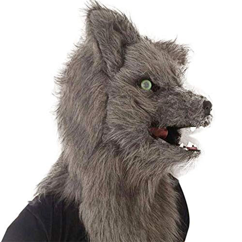 Fox Cosplay Kostüm Grey - Fox Mask, Moving Mouth, Plüsch Faux Fur, Kostüm Cosplay Mask Mouth Mover Fox Kopfmaske für Halloween Masquerade Party Rollenspiele,Grau