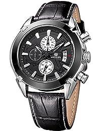 Megir Montre Sport Homme Chronographe Militaire Multifonction Pilote Bracelet Montre Cuir Analogique Quartz Noir Marron