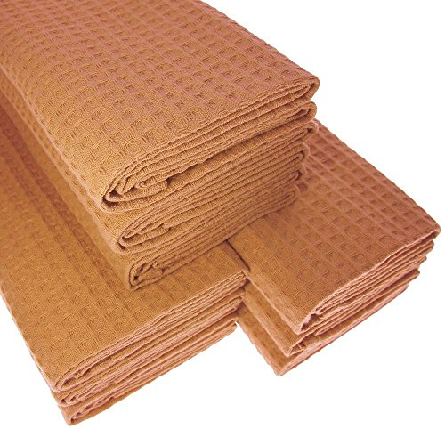 9x-tea-towel-made-from-100-cotton-waffle-pique-in-gold-light-brown-gastro