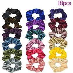 TNEW Scrunchies para el pelo Velvet Elástico,Gomas del Pelo para Mujeres Niñas Accesorios para el Cabello,18 piezas