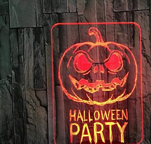 er Halloween Kürbis Kinderzimmer Schlafzimmer Wohnzimmer Dekoration 7 Farbwechsel Touch Schalter Geschenk Usb Weißes Chassis ()