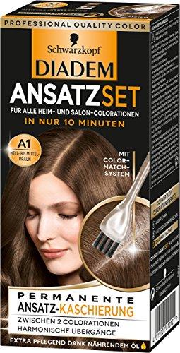 Schwarzkopf Diadem Ansatzset Haarfarbe, A1 Hell-bis Mittelbraun, 3er Pack (3 x 22 ml)