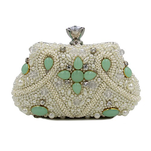 WYB Farbe Bead Stickerei Abendessen/DIAMANT Abendtasche/aus hochwertigem Pearl/Clutch/Kette Handtasche Grün