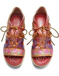 04f15f421 gracosy Sandalias Cuero Planas Verano Mujer Estilo Bohemia Zapatos para  Mujer de Dedo Sandalias Talla Grande 37-42 Chanclas Romanas de…