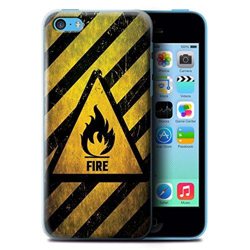 KOBALT® Hülle Case für Apple iPhone 5C   Hochspannung/Strom Entwurf   Warnung Zeichen Kollektion Feuer/Entzündliche
