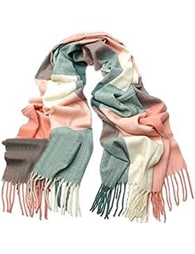 Scrox 1X Pañuelo de señora Mujeres caliente Mantas Cozy bufanda larga enrejado mantón Adecuado para otoño e invierno...