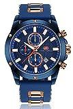 Relojes Hombres Reloj Deportivo Cronógrafo Moda Reloj de Pulsera de Cuarzo Resistente al Agua con Correa de Caucho Fecha Vestido de Negocios Relojes para Hombre Oro Azul