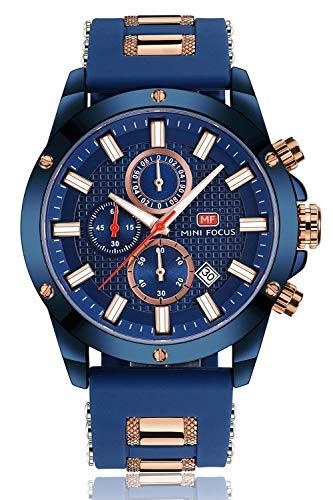 Montres Hommes Sport Montre Chronographe Mode Imperméable À l'eau Montre À Quartz avec Caoutchouc Bracelet Date Business Dress Montres pour Homme Or Bleu