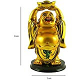 REBUY® Polyresin Laughing Buddha A Huge Gold Ingot Showpiece Statue for Good Luck Prosperity Health Wealth Happiness Success Home Decor (13 cm X 7 cm)
