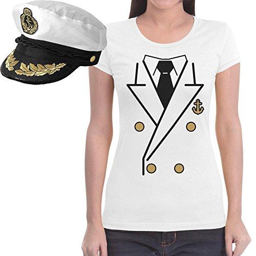 Kapitän Kostüm Damen SHIRT + KAPITÄNSMÜTZE Frauen T-Shirt Slim Fit Weiß