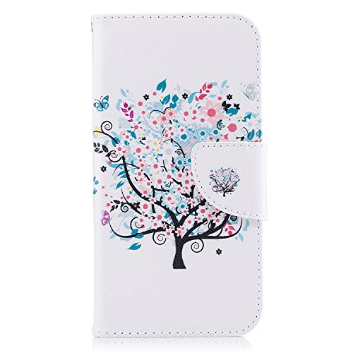 Linvei Samsung Galaxy J7(2017)(Version européenne)Coque,[Conception de Motif Coloré][PU Cuir Housse][Portefeuille Flip][Stand Soutien/Card Slot /Fermeture Magnétique] - Plante tropicale verte Arbre des fleurs