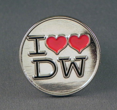 Anstecker, Metall, Emaille, Dr. Dr. Who-'I DW'Love Dr Who Anstecknadel