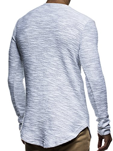 LEIF NELSON Herren Pullover Hoodie Sweatjacke Longsleeve Sweatshirt Jacke Basic Rundhals Langarm oversize Shirt Hoody Sweater LN6298 Grau