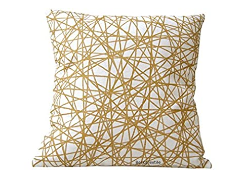 Gold and white colored cushion, Cushion modern stripes gold color. Cushion cover linen and cotton. 16 x 16 inches, 18 x 18 inches, 20 x 20 inches BeccaTextile Handmade.