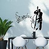 Vinyl Wandtattoo Musik Kontrabass Mann Spielen Jazz Swing Studio Wandaufkleber Wandsticker Wanddekoration Fototapete Dekoration für Kinderzimmer Badzimmer Schlafzimmer Wohnzimmer M140