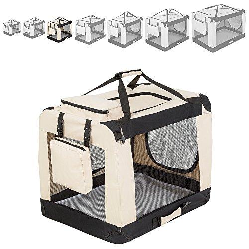 "TecTake Faltbare Hundetransportbox Transportbox beige -diverse Größen- (""L"" 69x50x52cm)"